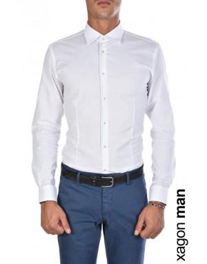 CAMICIA AKALIO Slim Fit Stretch Bianco