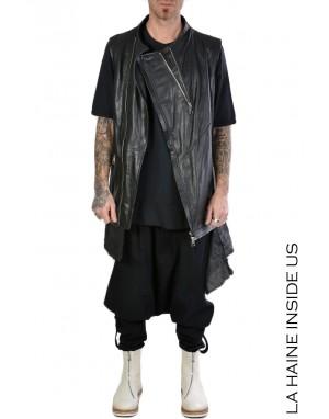 LH LEATHER GILET 3B BLACKROB Black