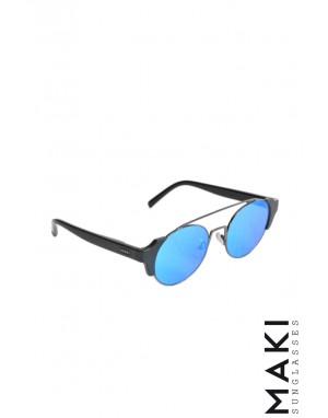 SUNGLASSES HULTBL Black Mirror Lens Blue