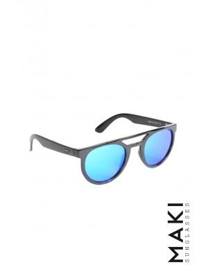 OCCHIALI DA SOLE HVIRBL Nero Lente Specchio Blu