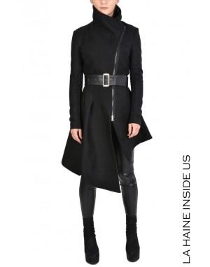 4B TESAL Coat Cloth & Leather Black